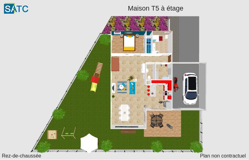 Perspective maison T5 rez-de-chaussée